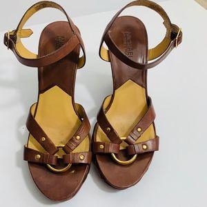 Michael Michael Kors Brown Leather Wedges 7